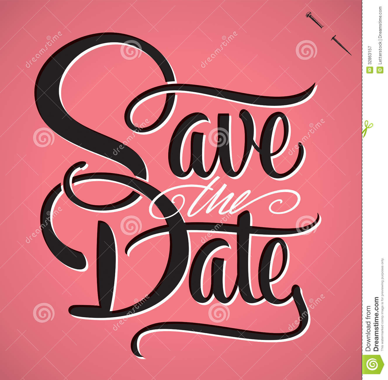 Save The Date Hand Lettering Vector Royalty Free Stock