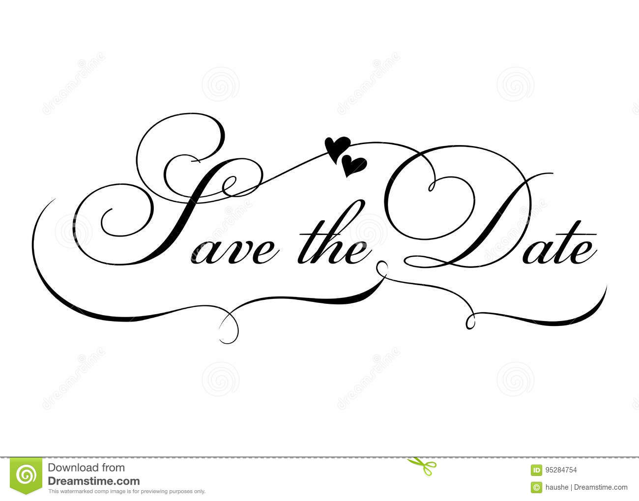 Save The Date Vector Handmade Calligraphy With Twirl And