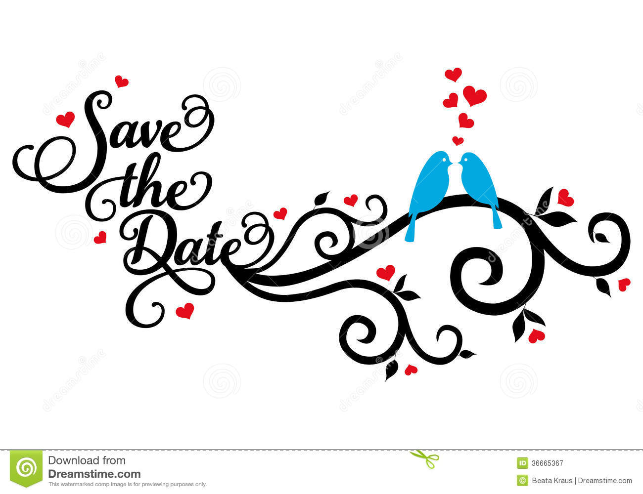 Save The Date Wedding Birds Vector Stock Vector