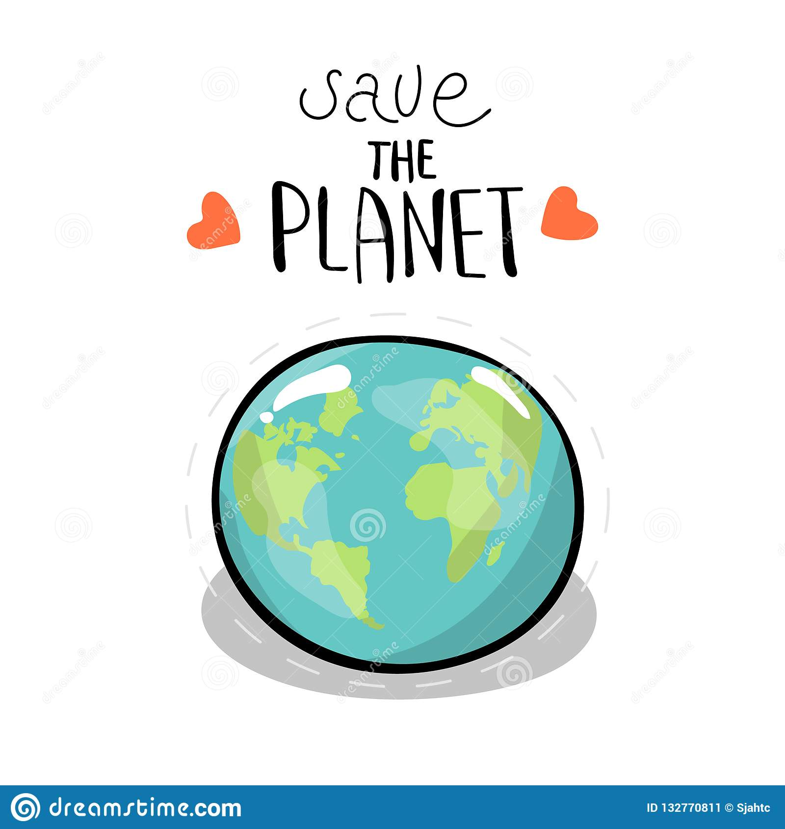 Save The Planet Vector Illustration On White Background