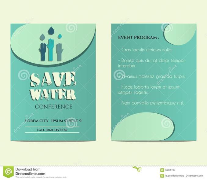 Conference invitation card vector newsinvitation save water conference flyer and poster invitation royalty free vector stopboris Images