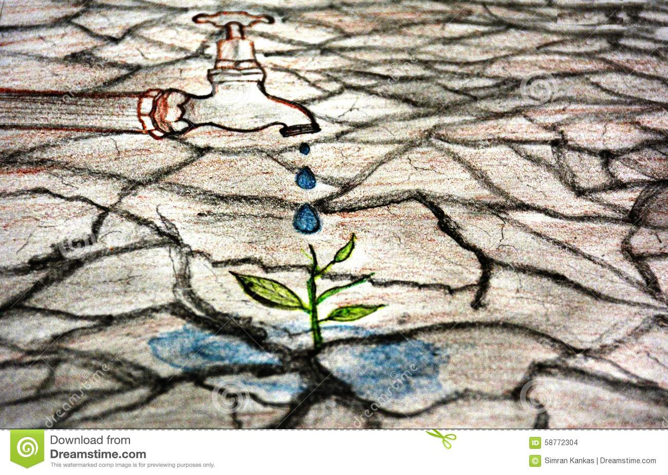 Save water sketch stock illustration image of drought