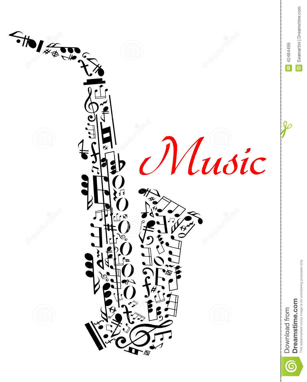 Saxophone With Musical Notes Stock Vector
