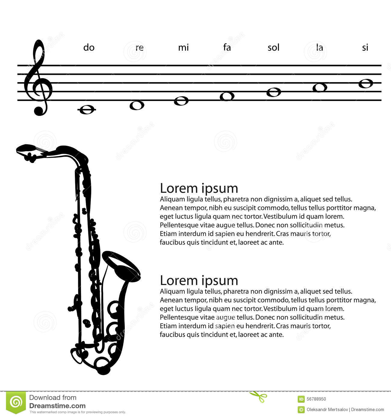 Saxophone Saxophonist Abstract Treble Clef Notes Vector