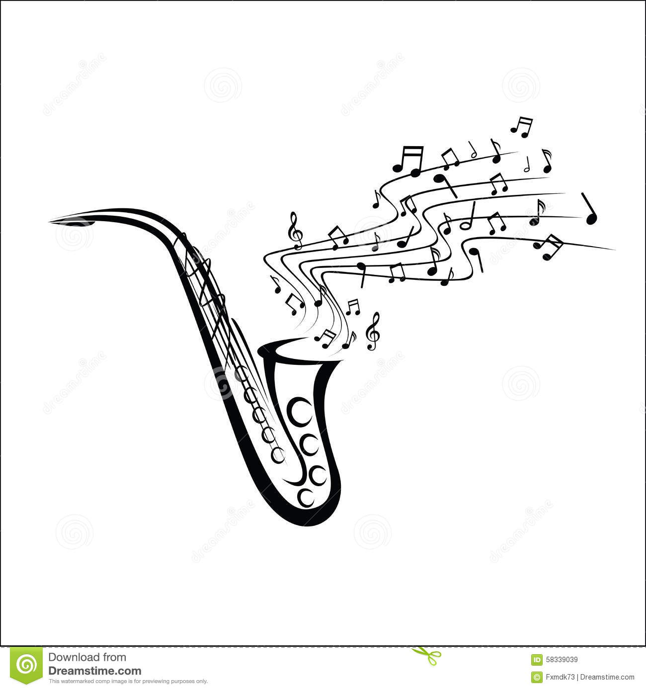Saxophone Sketch Stock Vector