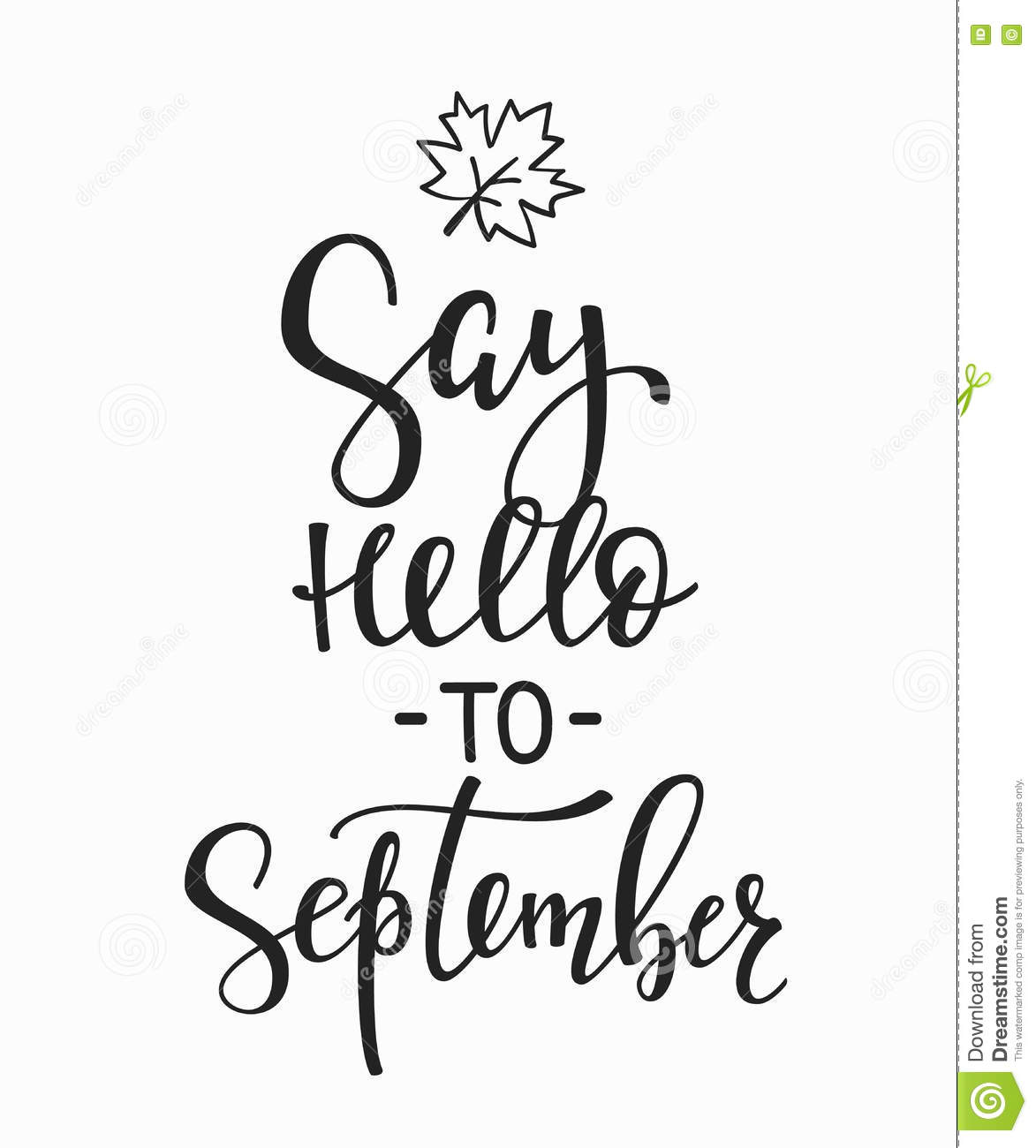 Say Hello To September Quotes Typography Stock