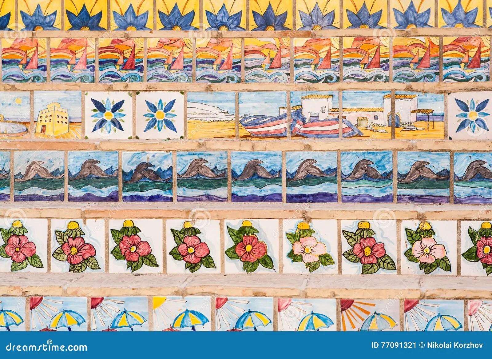 Scale Decorate Con Le Piastrelle Di Ceramica Sicily Immagine Stock  Immagine 77091321