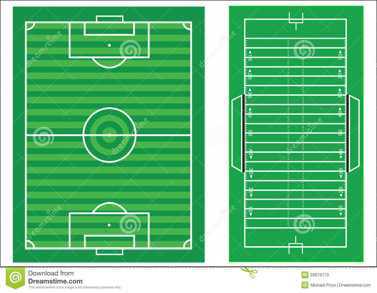 diagram of football ground with measurements 2000 vw jetta vr6 fuse box scale soccer and american stock vector