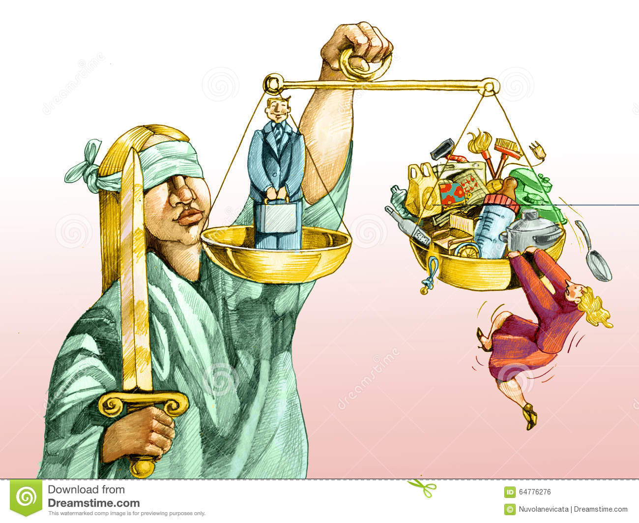 On The Scales Of Justice For Men And Women Stock