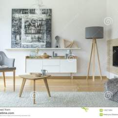 Living Room Pouf Curtains Drapes Scandi Grey Interior Stock Photo Image Of Modern Patterned Near Fireplace And Lamp In With Armchair Painting