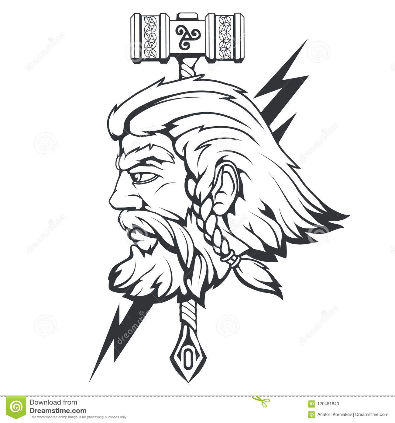 Scandinavian God Of Thunder And Storm Hand Drawing Of