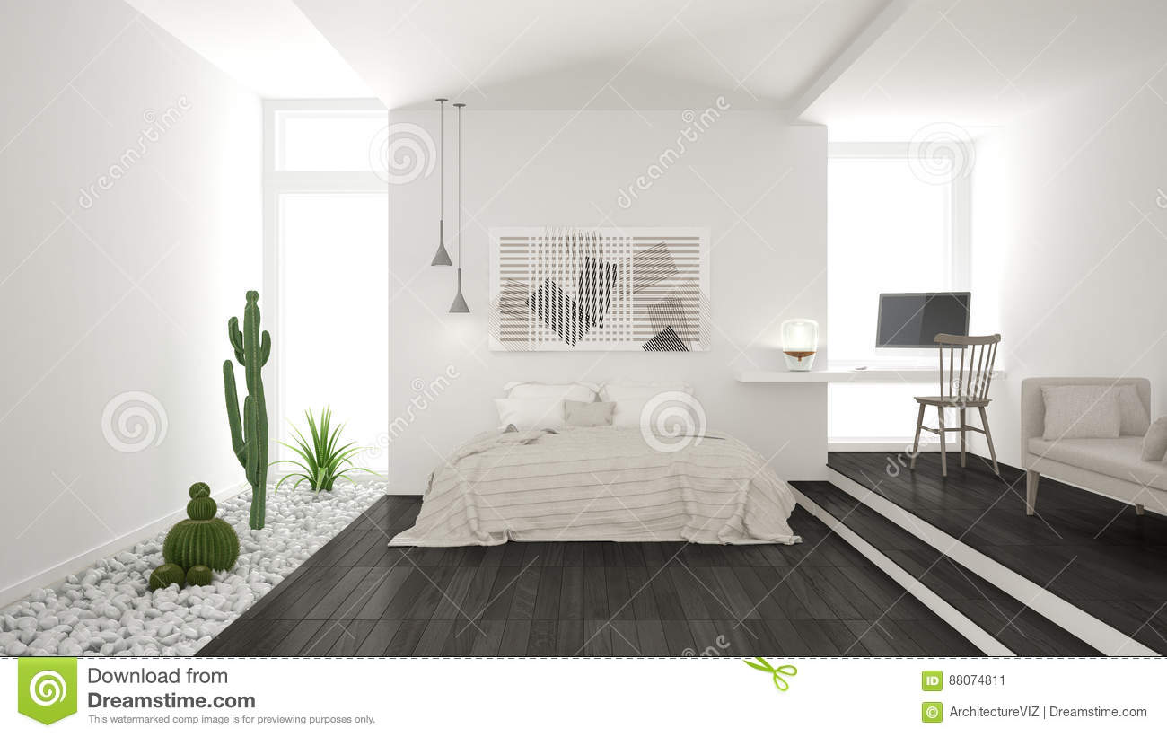Scandinavian Minimalist White And Gray Bedroom With