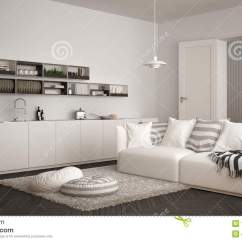 White Contemporary Living Room Furniture Scandinavian Modern With Kitchen Dining Table Sofa And Rug Pillows Minimalist Gray Architecture Interior Design