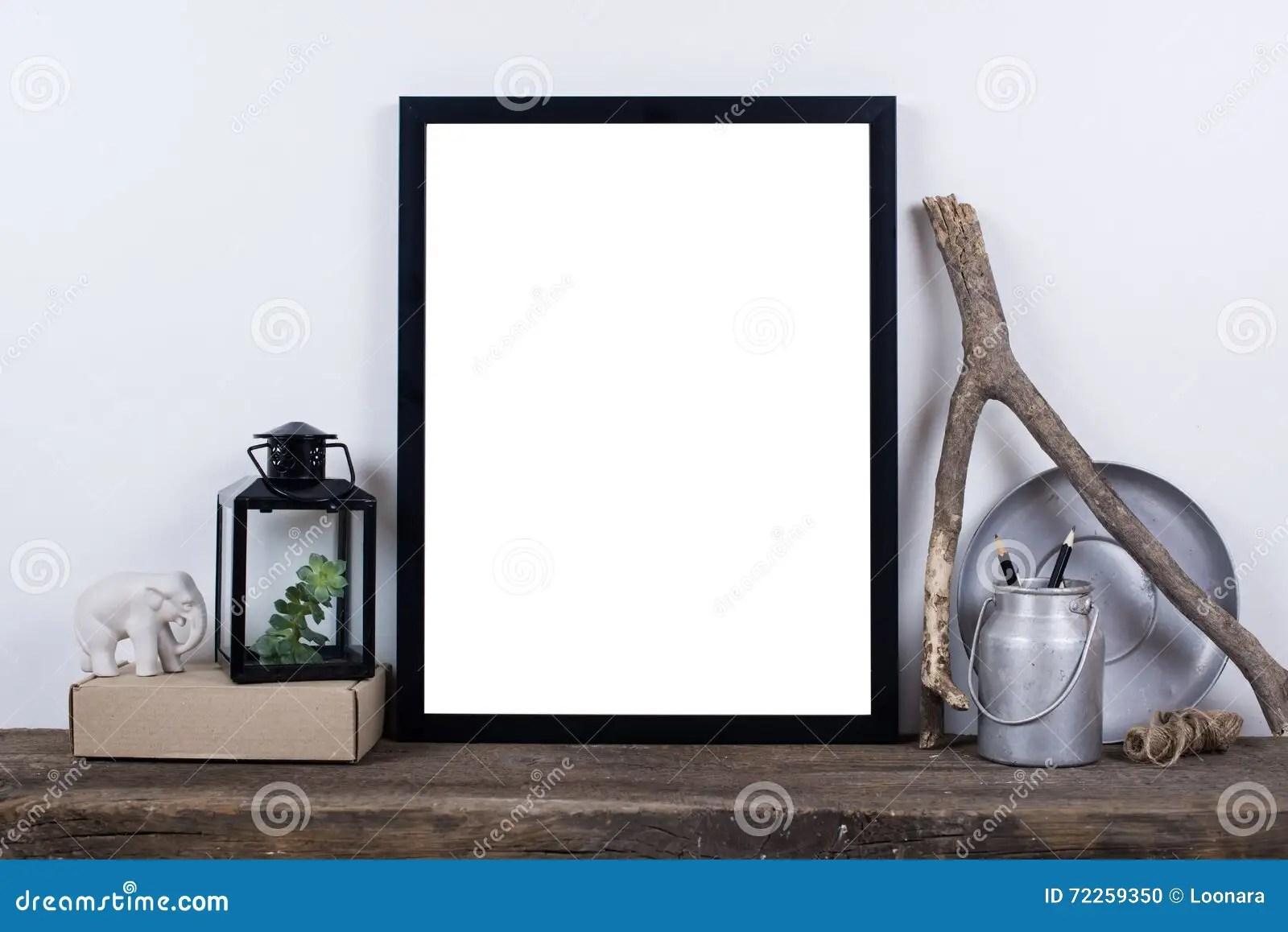Scandinavian Style Empty Photo Frame Mock Up Minimal Home