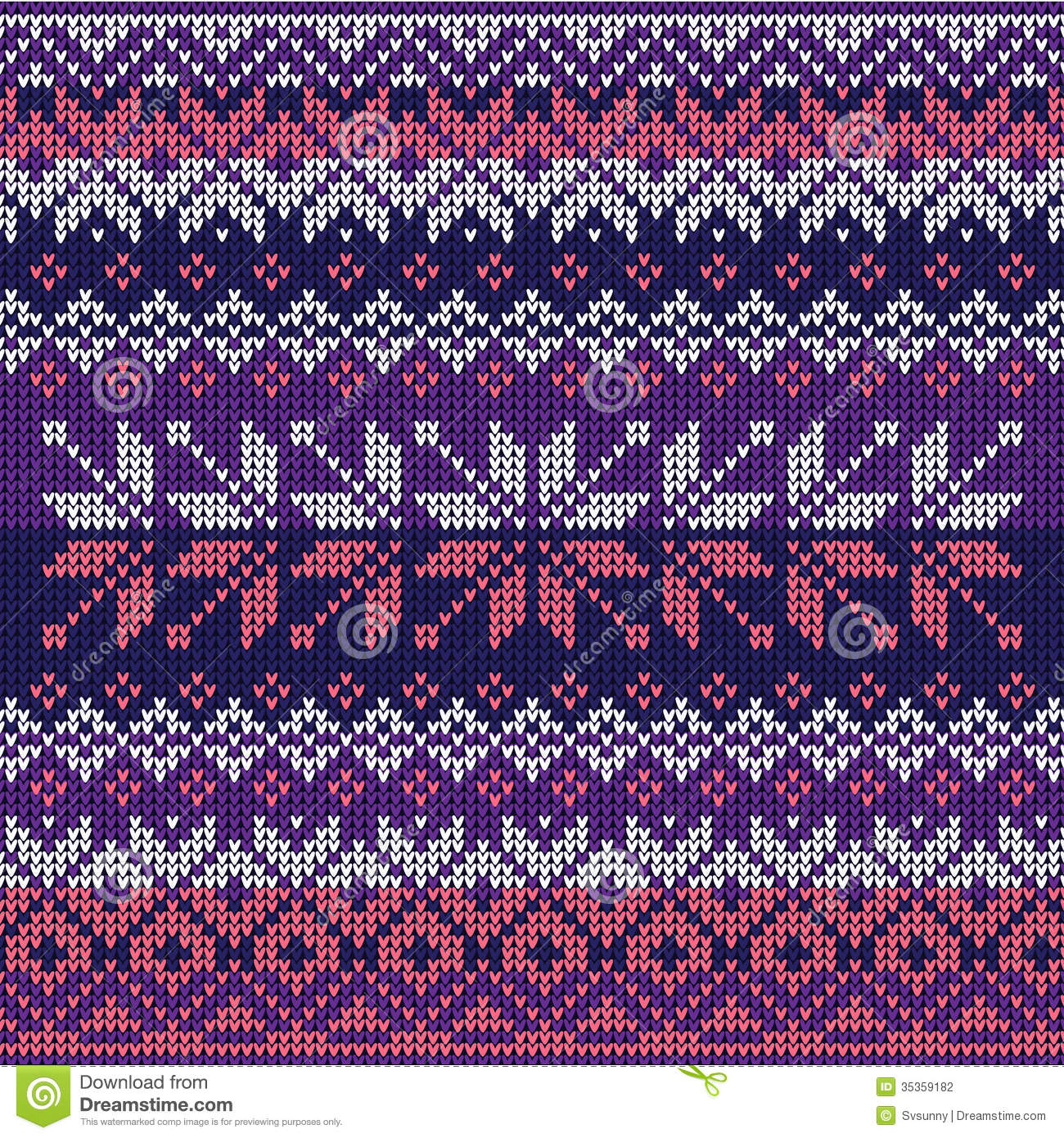 Scandinavian Style Seamless Knitted Pattern Colors Blue
