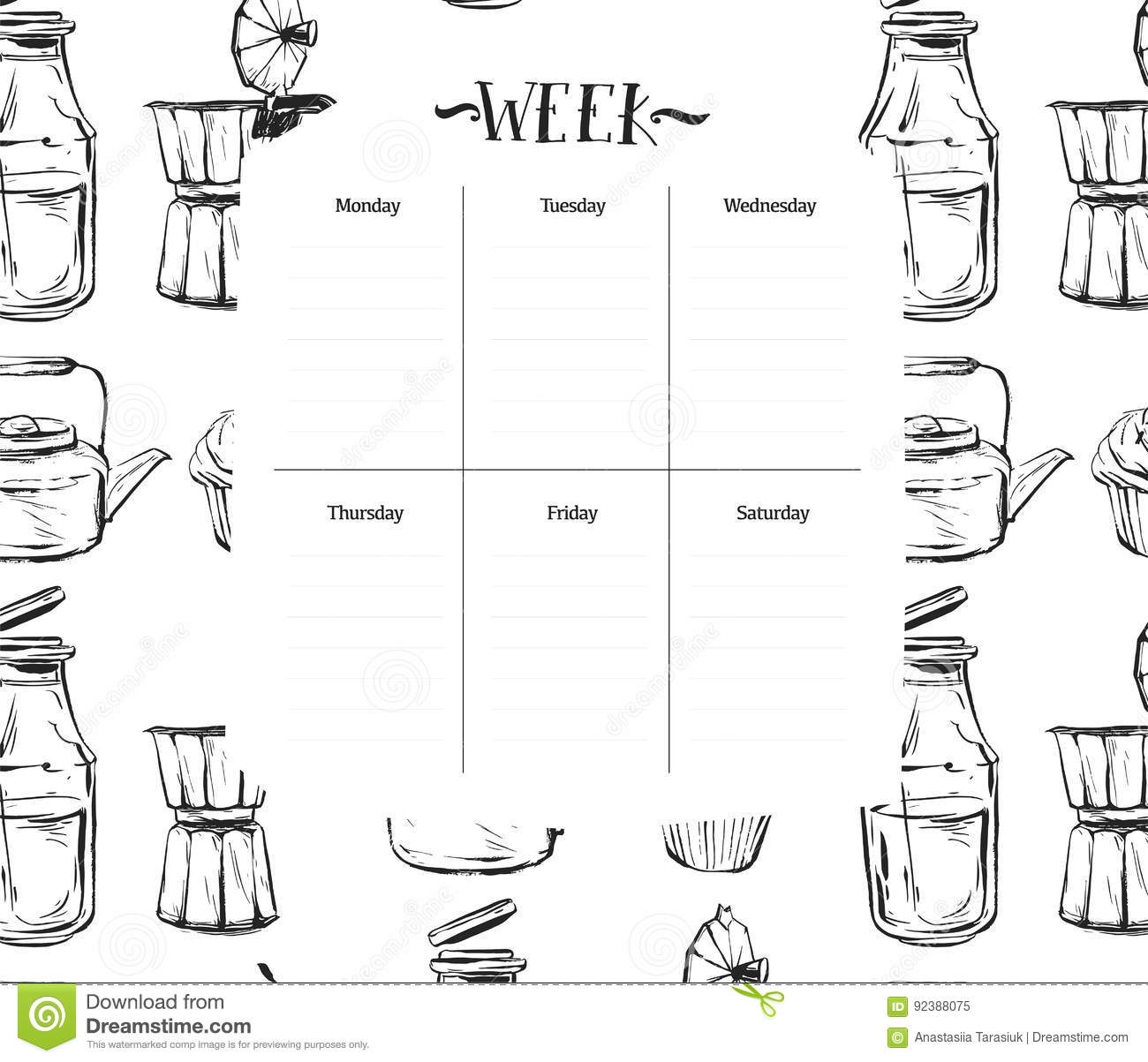 Scandinavian Weekly And Daily Food Planner Template
