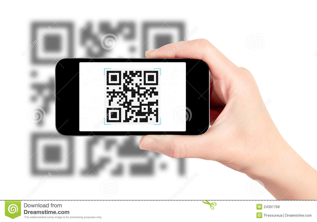 Scanning Qr Code With Mobile Phone Stock Photo  Image Of