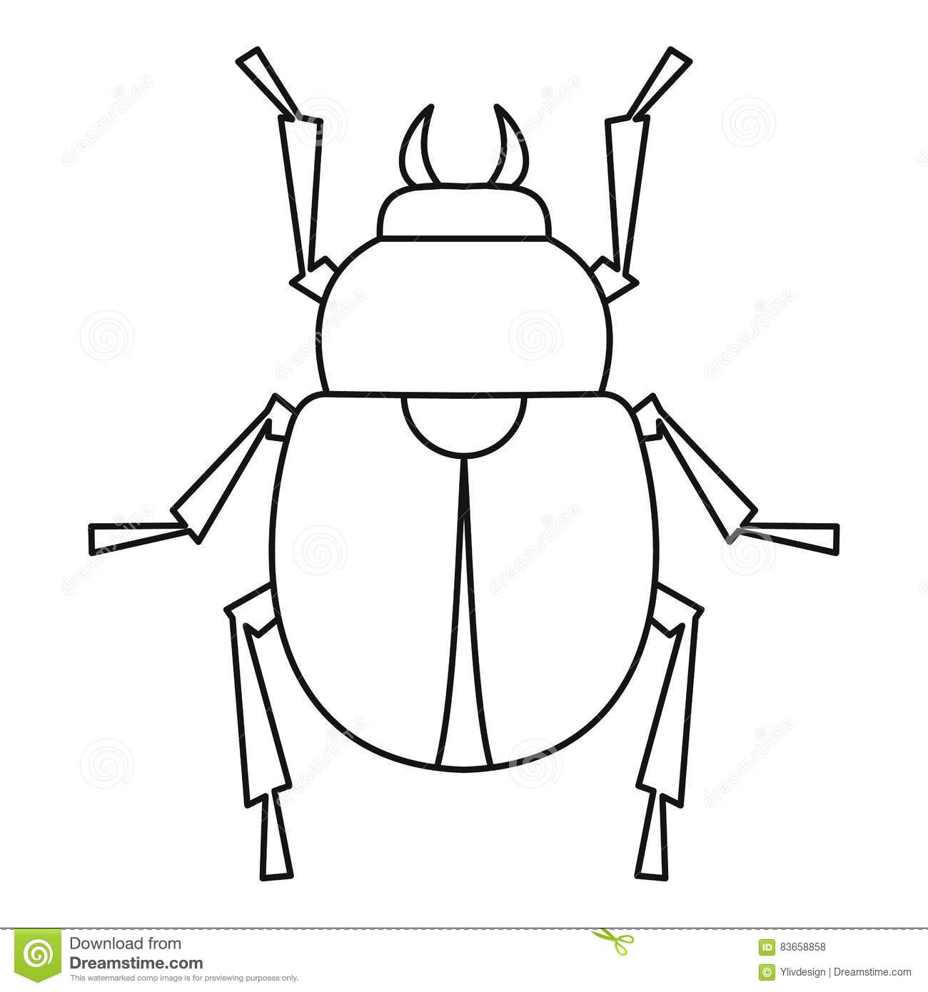 Scarab Beetle Icon Outline Style Stock Vector