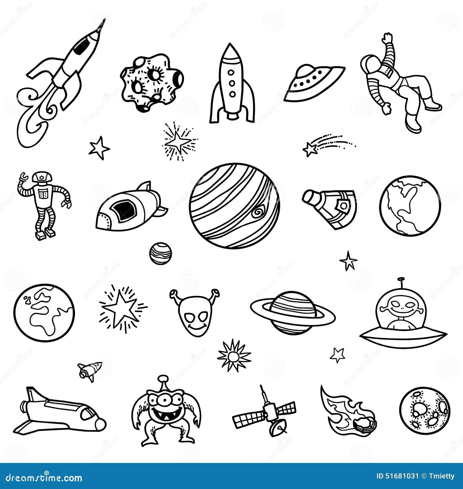 Scarabocchi Disegnati A Mano Dello Spazio Cosmico