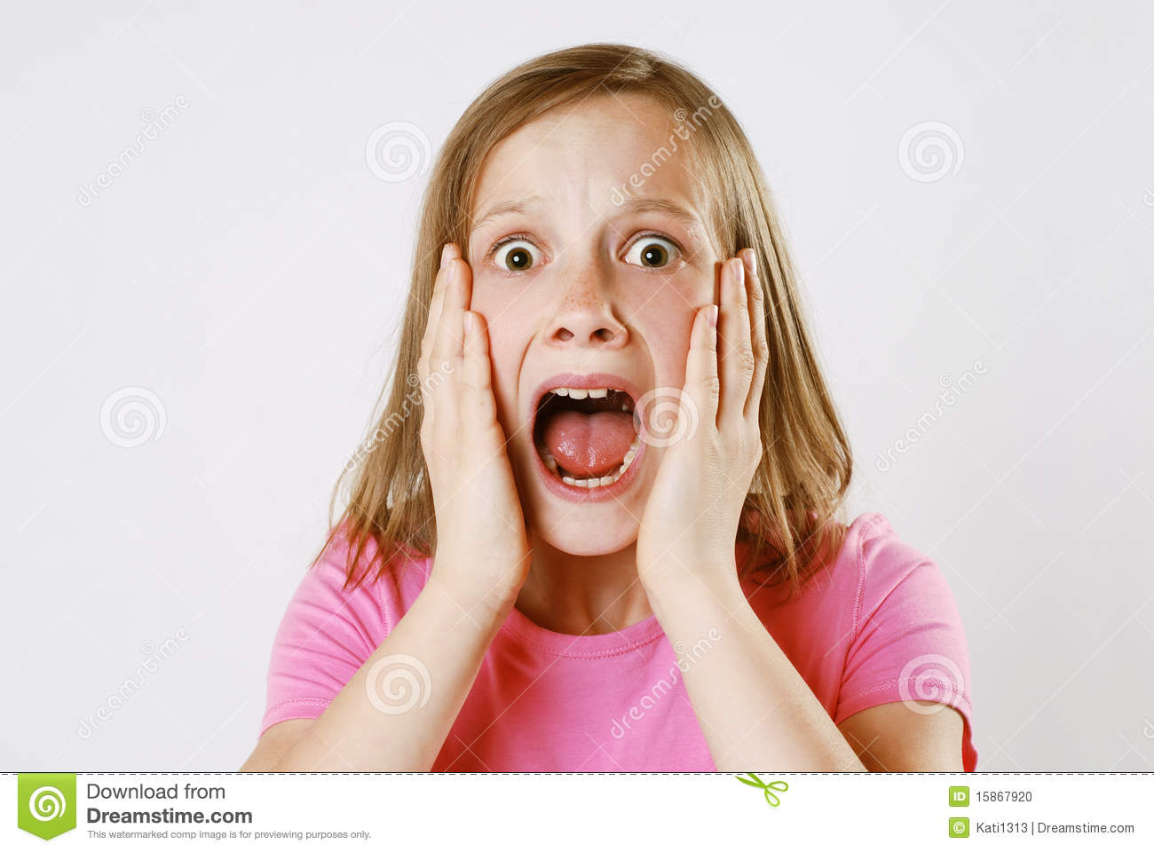 scared girl stock photo