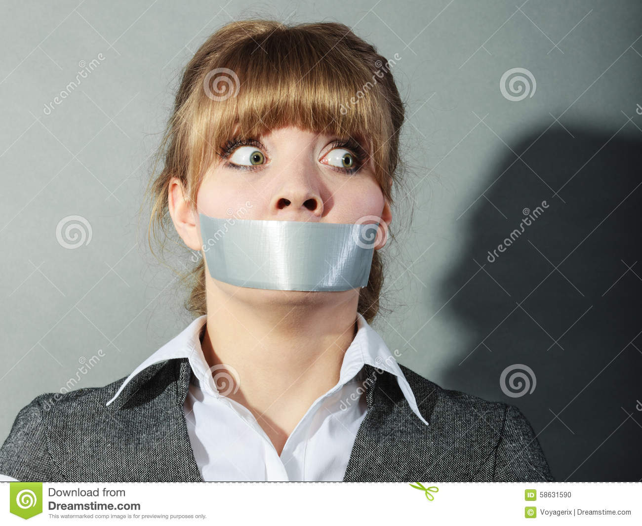 Girl With Mouth Taped Shut Wallpaper Scared Woman With Mouth Taped Shut Censorship Stock
