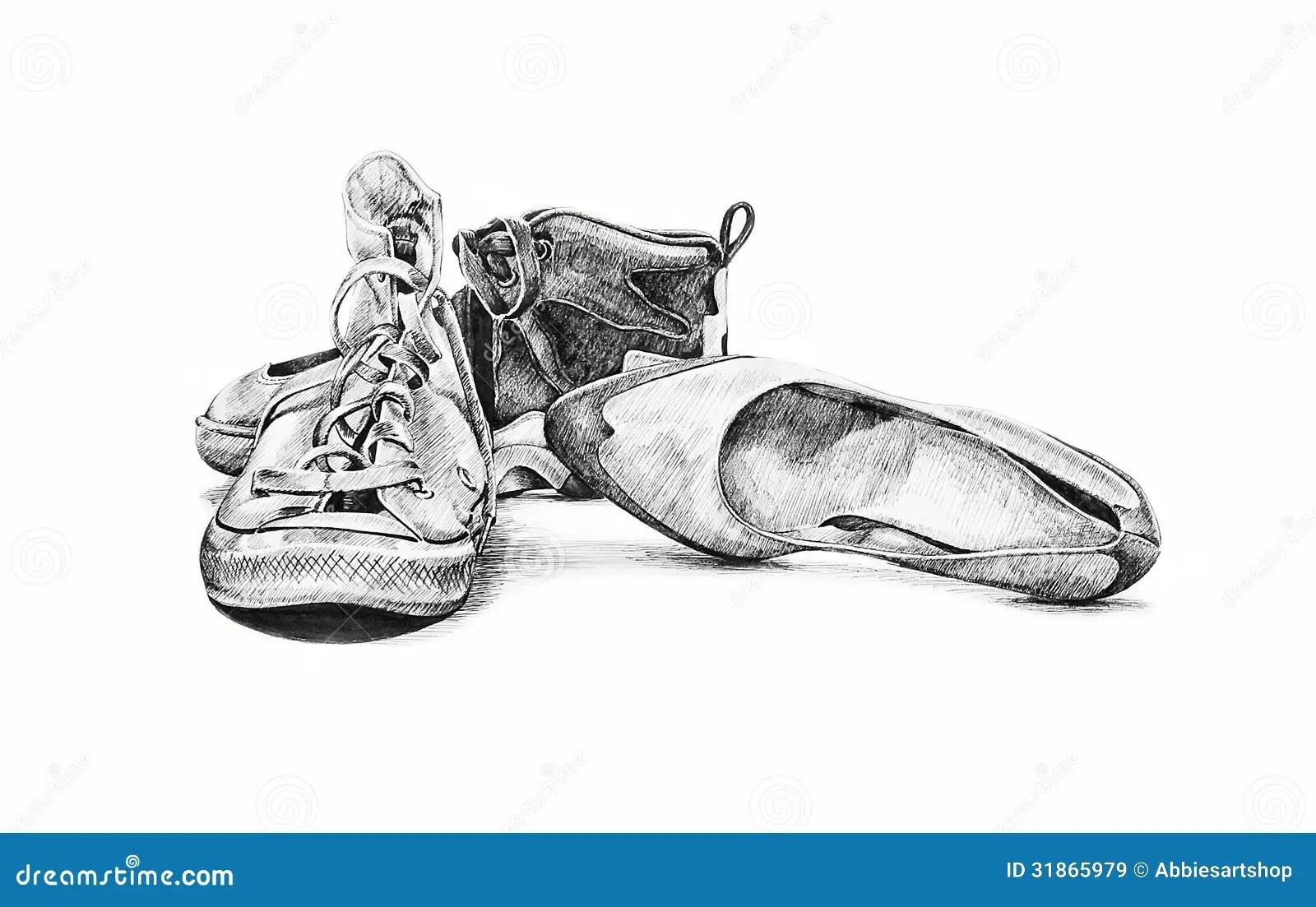 Scarpe D Annata Illustrazione Disegnata A Mano Immagini