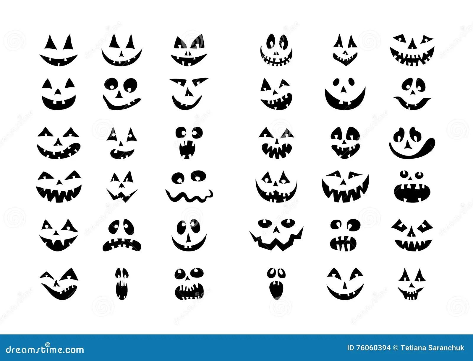 Scary Halloween 36 Pumpkin Faces Icons Set Stock Vector