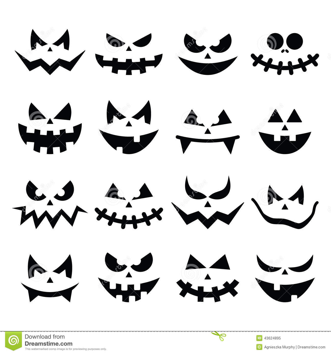 Scary Halloween Pumpkin Faces Icons Set Stock Illustration