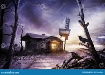 Scary Motel In Desolate Area Stock - Of Window