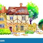 Scene With Two Countryhouses Fence Trees Bushes And Plants Watercolor Old Stone Europe House Hand Drawn Illustration Stock Illustration Illustration Of Europe Architecture 147548478