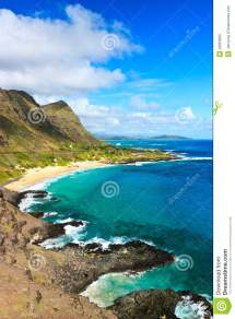 Scenic Tropical Coast Oahu Hawaii Stock - Of