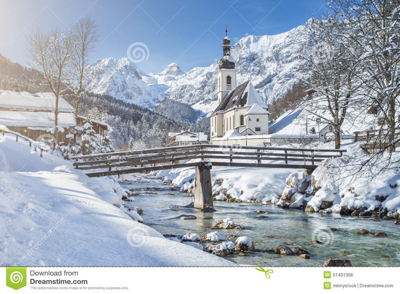 Scenic Winter Landscape With Pilgrimage Church In The Alps