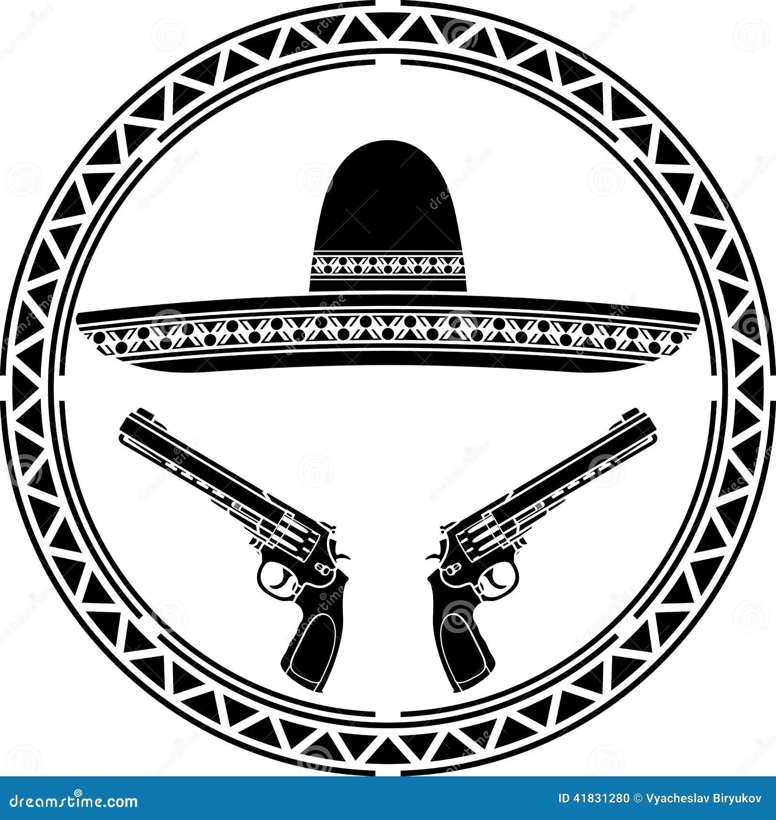 Schablone Des Mexikanischen Sombreros Und Zwei Pistolen