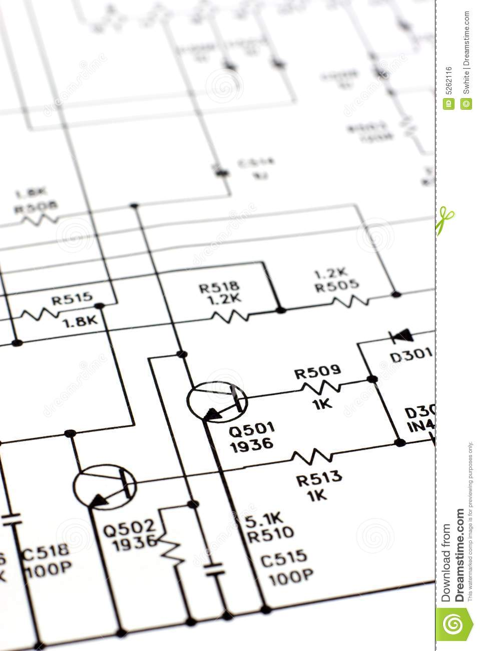 Schematic diagram. stock photo. Image of component