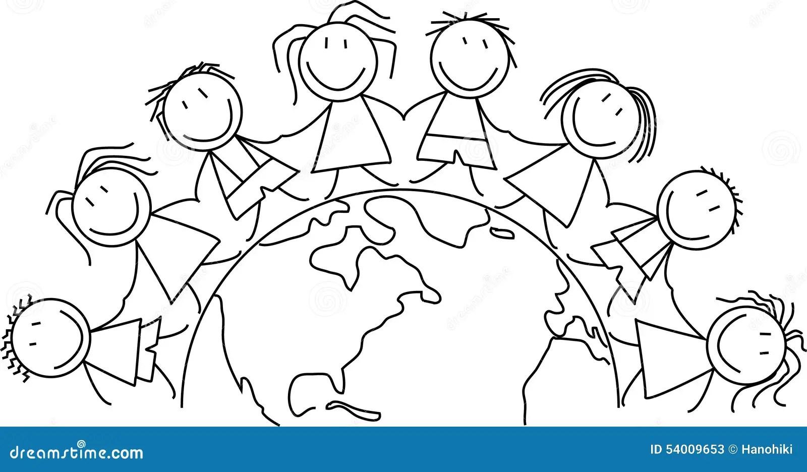 Scherzt Welt Kinder Auf Kugel Stock Abbildung