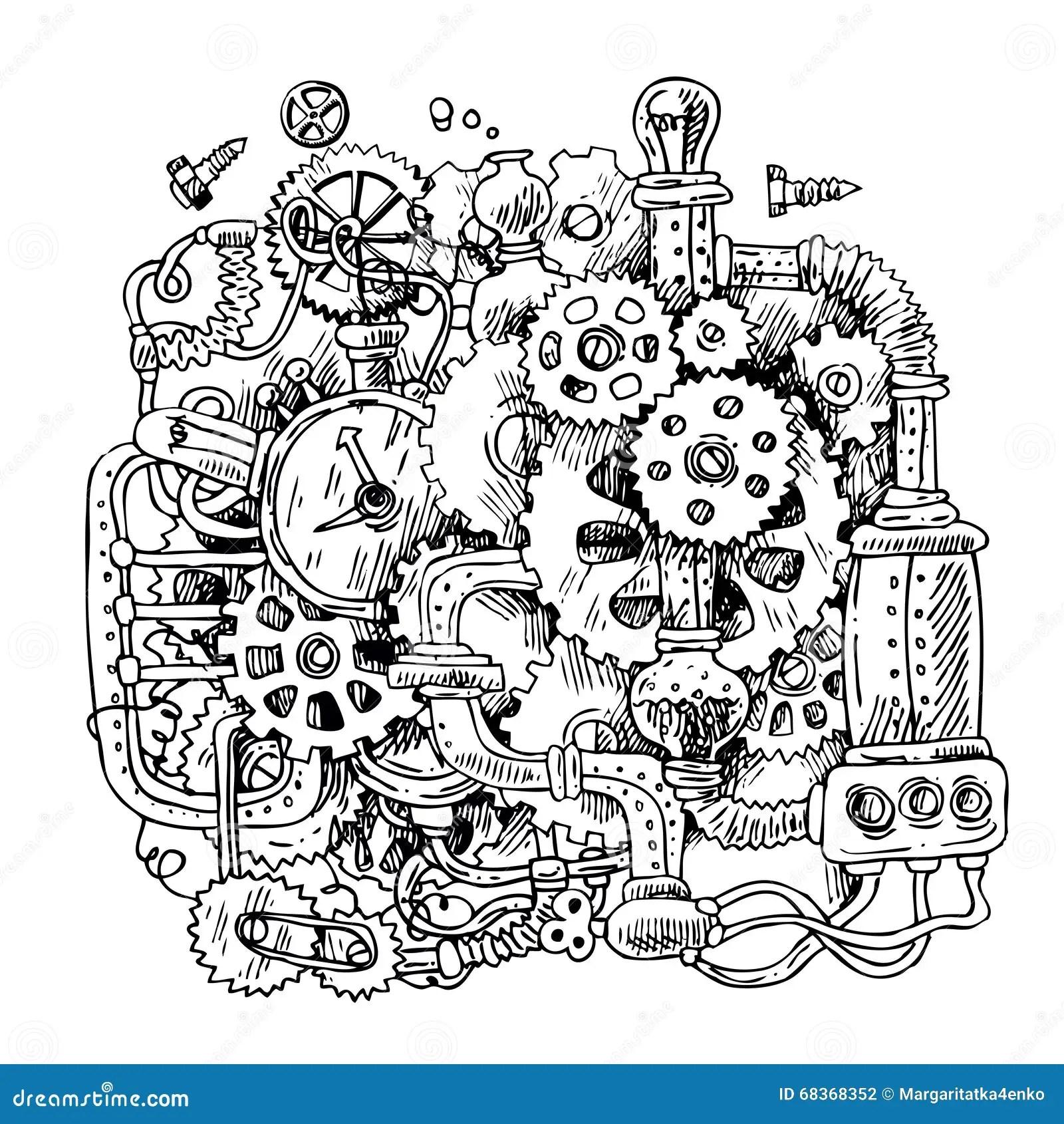Schets Steampunk Mechanisme Vector Illustratie