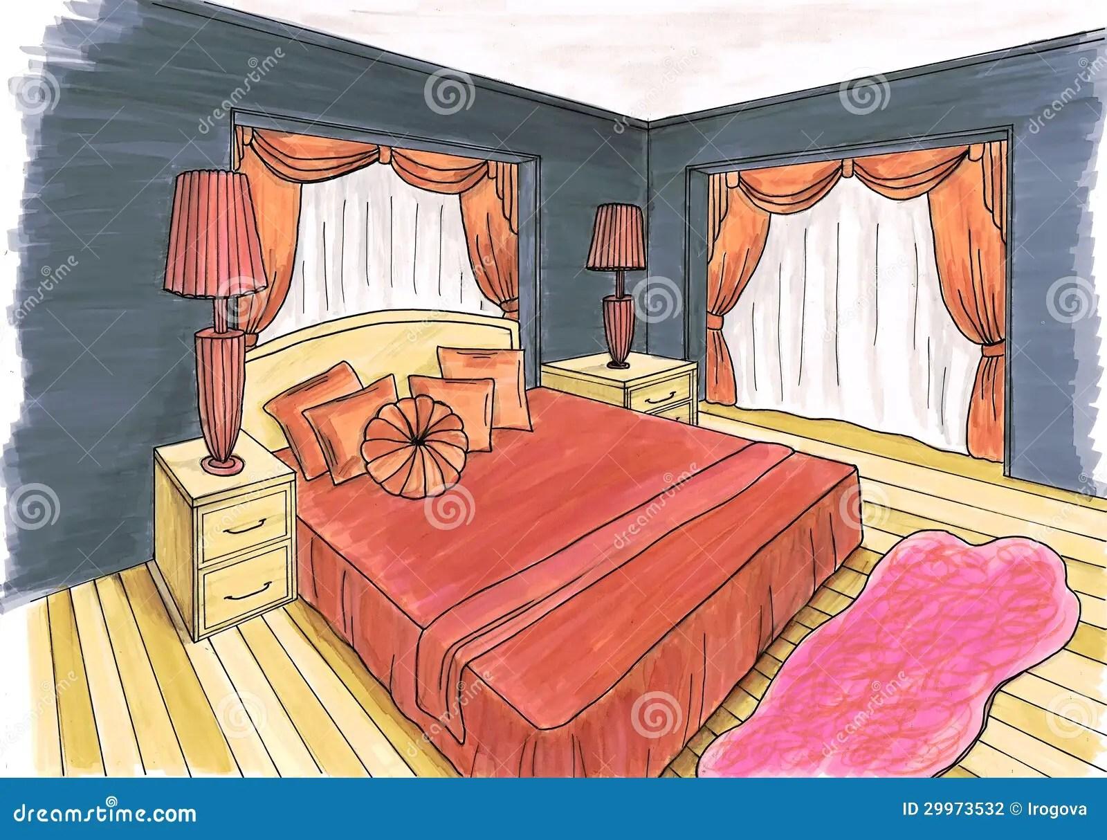 Schizzo Grafico Di Una Camera Da Letto Interna Illustrazione di Stock  Illustrazione di