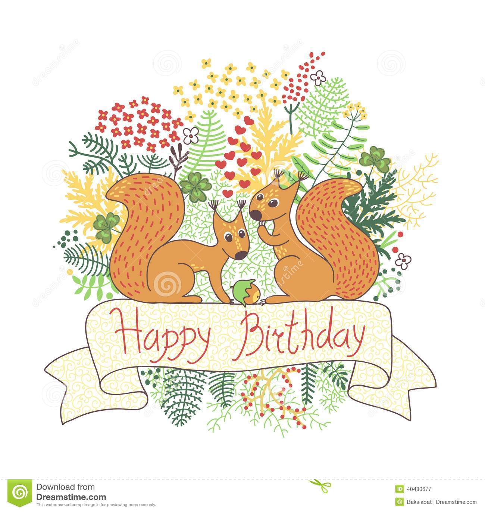 Schne Karte Mit Eichhrnchen Alles Gute Zum Geburtstag Vektor Abbildung  Bild 40480677
