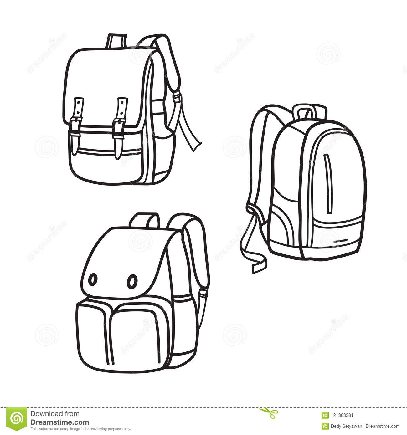 School Bag Outline Vector Illustrations Stock Vector