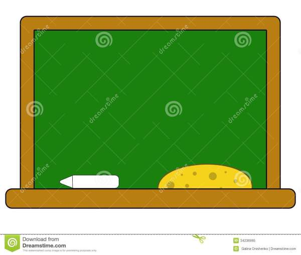 School Board With Chalk And Sponge Royalty Free Stock