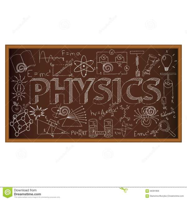 School Board Doodle With Physics Symbols. Vector Stock