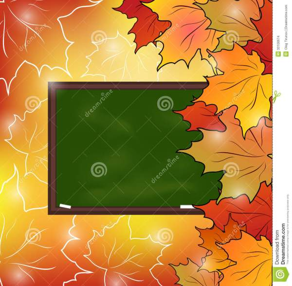 School Board With Maple Leaves Autumn Background Stock
