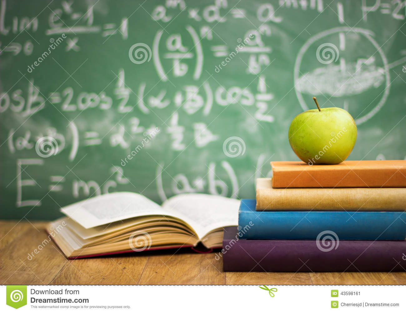 School Books With Apple On Desk Stock Image  Image 43598161