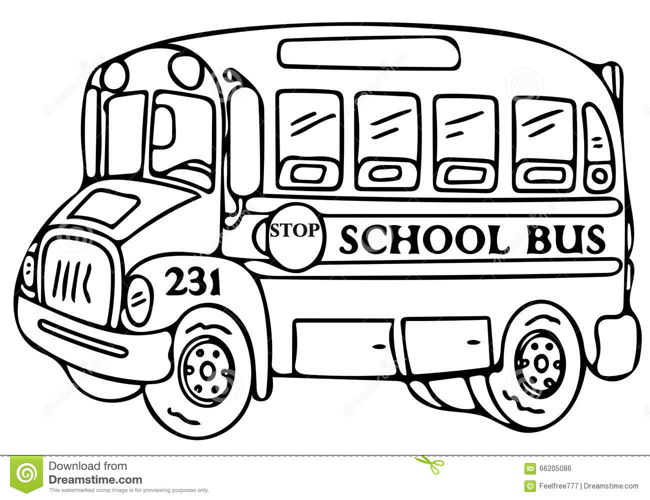 School bus coloring pages stock illustration. Illustration