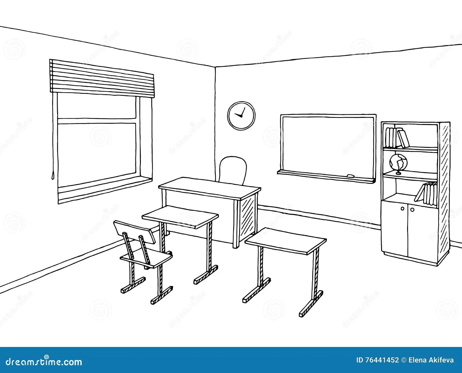 School Classroom Black White Graphic Art Interior Sketch