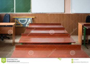 School Classroom With School Desks And Blackboard In High School Stock Photo Image of protractor class: 121594674