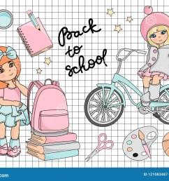 school clipart vector illustration set go to school [ 1300 x 1009 Pixel ]