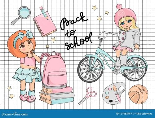 small resolution of school clipart vector illustration set go to school