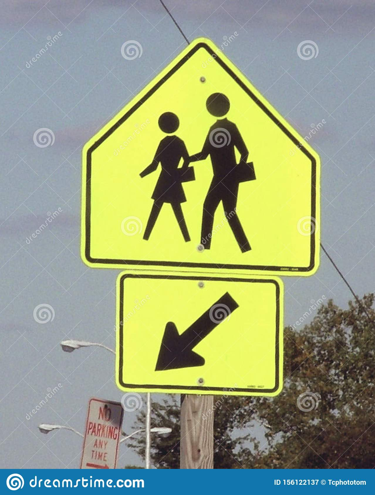 School Crossing Sign On A Street Editorial Photography