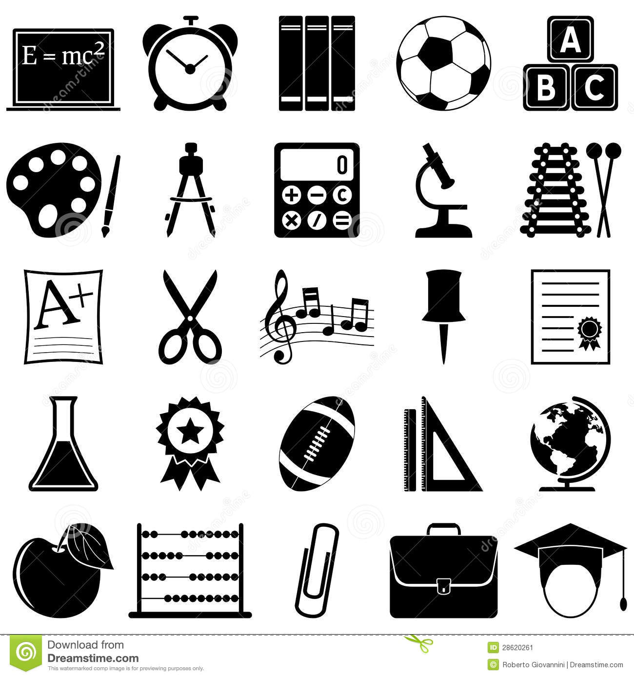 School And Education Icons Stock Vector Illustration Of